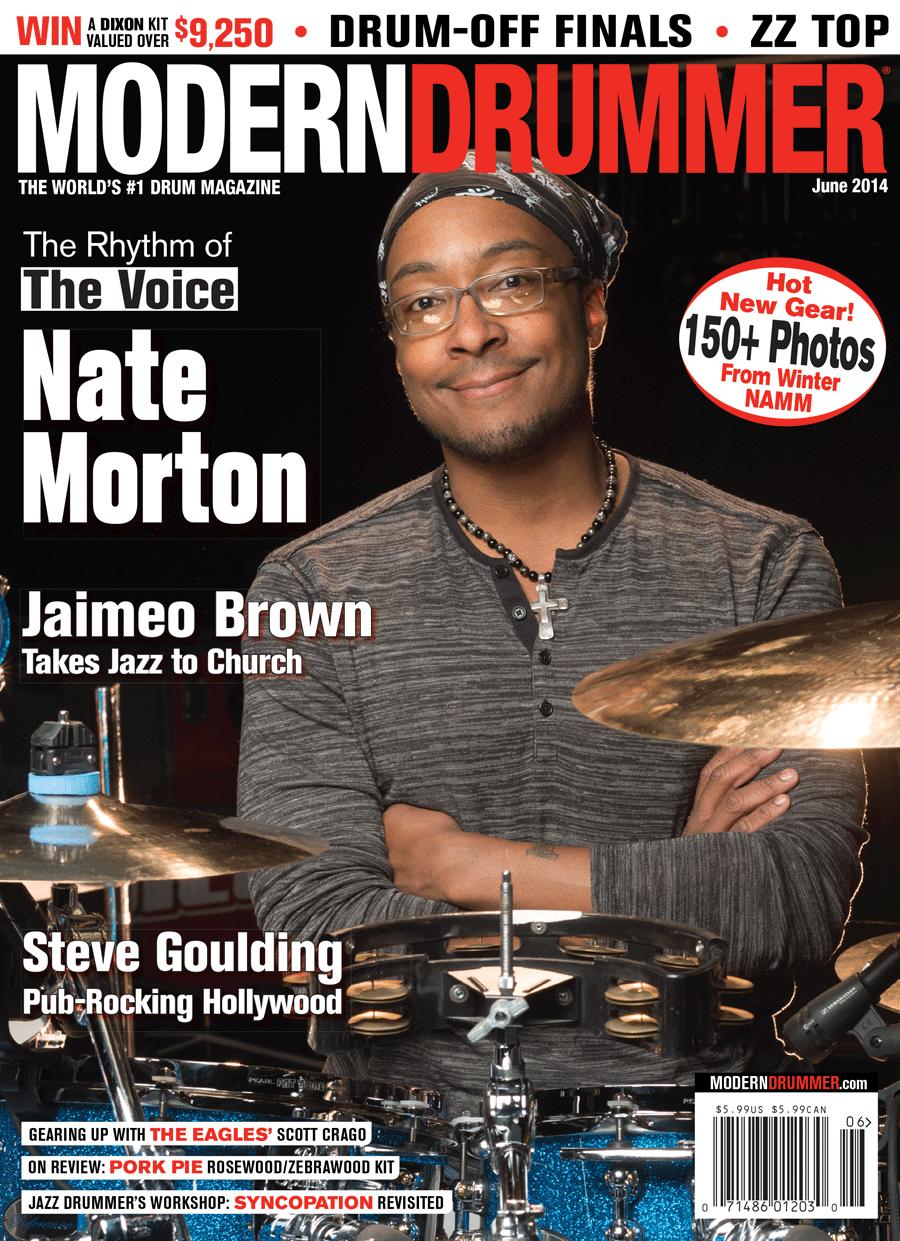 June 2014 Issue Of Modern Drummer Featuring Nate Morton Of The Voice Modern Drummer Magazine Modern Drummer Drummer Hal Leonard