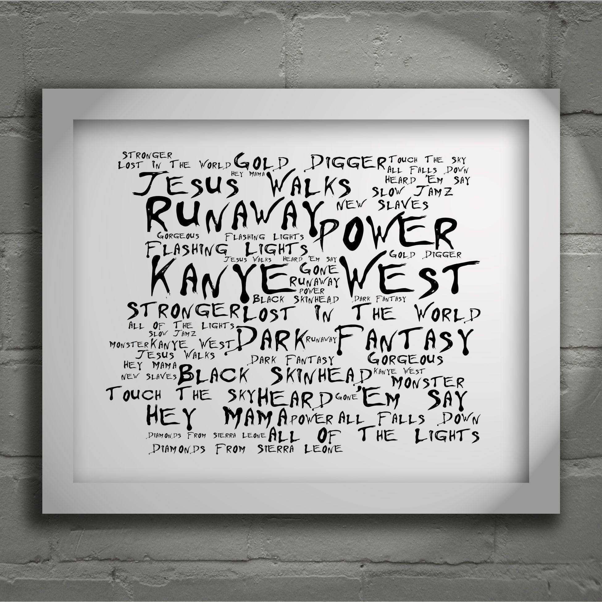 Kanye West My Beautiful Dark Twisted Fantasy Limited Edition Typography Lyrics Art Print Signed Beautiful Dark Twisted Fantasy Typography Art Print Lyrics Art