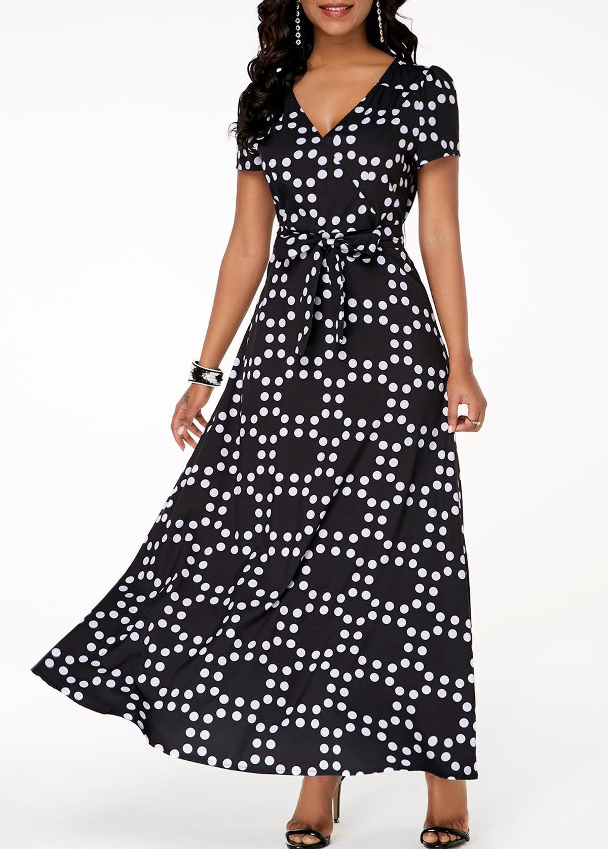 7cb26161c738 Polka Dot Black Belted V Neck Maxi Dress  Sponsored  Black