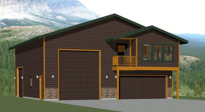 40x42 Apartment with 2-Car 1-RV Garage - PDF FloorPlan - 1,153 sqft ...