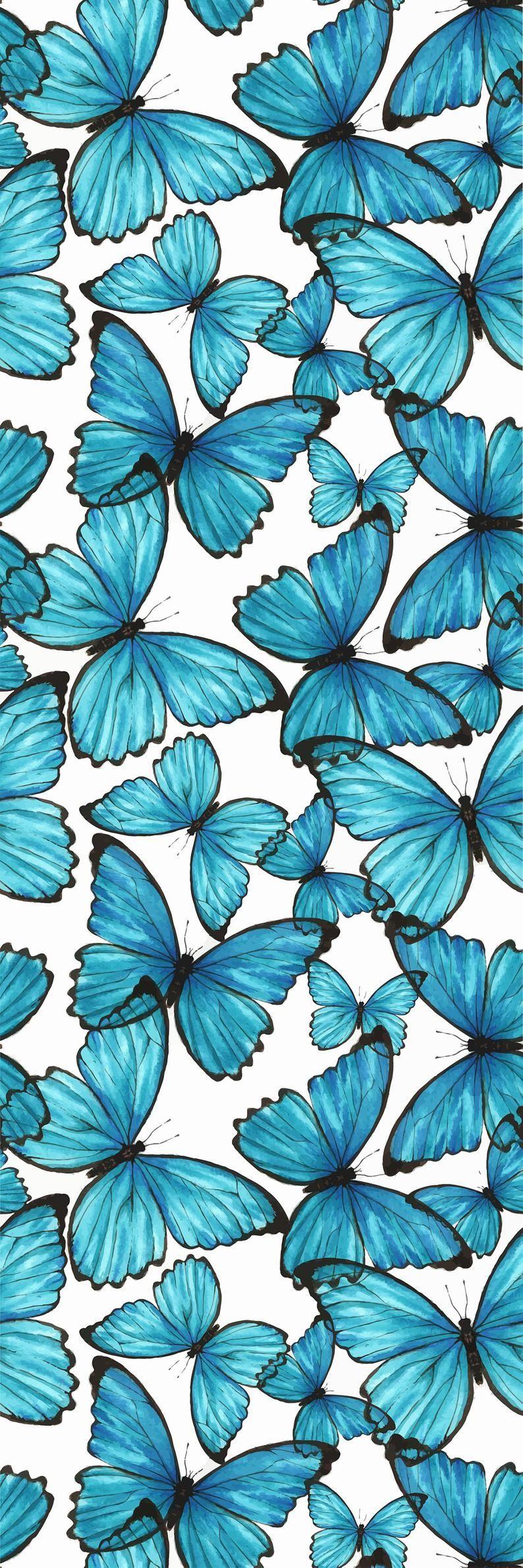 Removable Wallpaper Self Adhesive Blue Butterflies Nursery Wallpaper Peel & Stick Wallpaper #backrounds