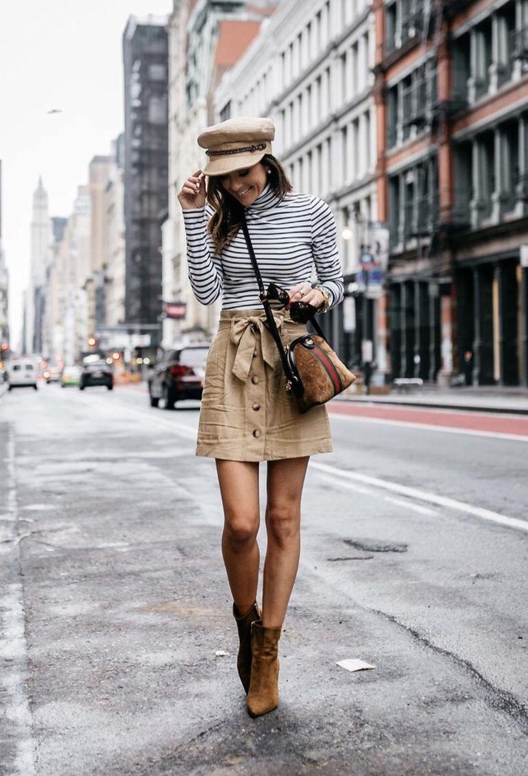 a52e3ec7727 21+ Winter Outfits To Copy ASAP  Stripe shirt with camel baker boy hat.  Image ©️️Alyson Haley  winterfashion  winteroutfits  casualwinteroutfits ...