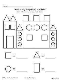 recognize and count the shapes in the castle math shapes shapes worksheet kindergarten. Black Bedroom Furniture Sets. Home Design Ideas