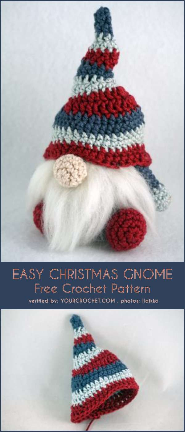 Easy Christmas Gnome Free Crochet Pattern #crochetelements
