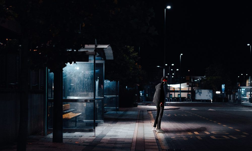 Two Men Waiting At Bus Stop Charged For Violating Murphy S Law Bus Stop Dark Night Photo