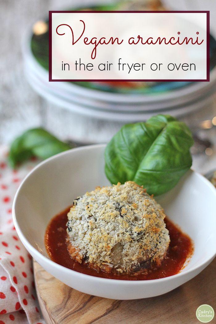 Vegan arancini (Italian rice balls) in the air fryer or oven