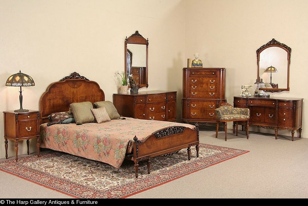 Antique Bedroom Furniture 1930 | Waterfall Style Furniture Waterfall Bedroom Set 1930 40
