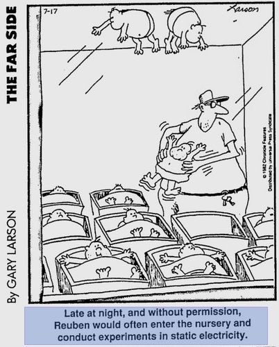 """""""Late at night and without permission, Reuben often entered the nursery and performed unauthorized experiments in static electricity..."""" ~Gary Larson, genius"""