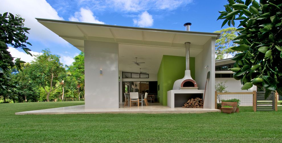 Pizza Oven Outdoor Patio In Exterior Contemporary With Downlights Black  Framed Windows