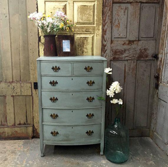 Blue Dresser, Vintage Tall Dresser, Unique Bedroom Furniture, 1940s  Furniture