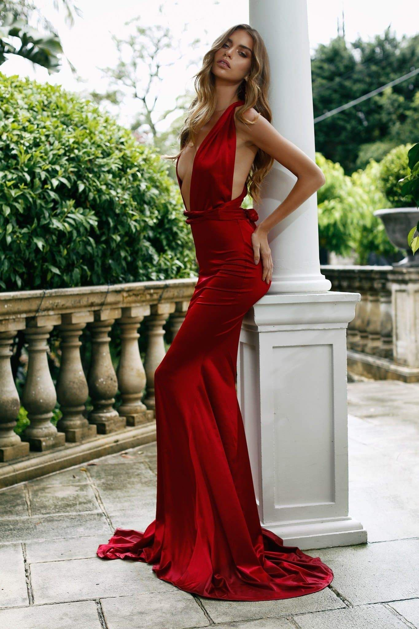 Lena satin gown wine red red silk dress beautiful