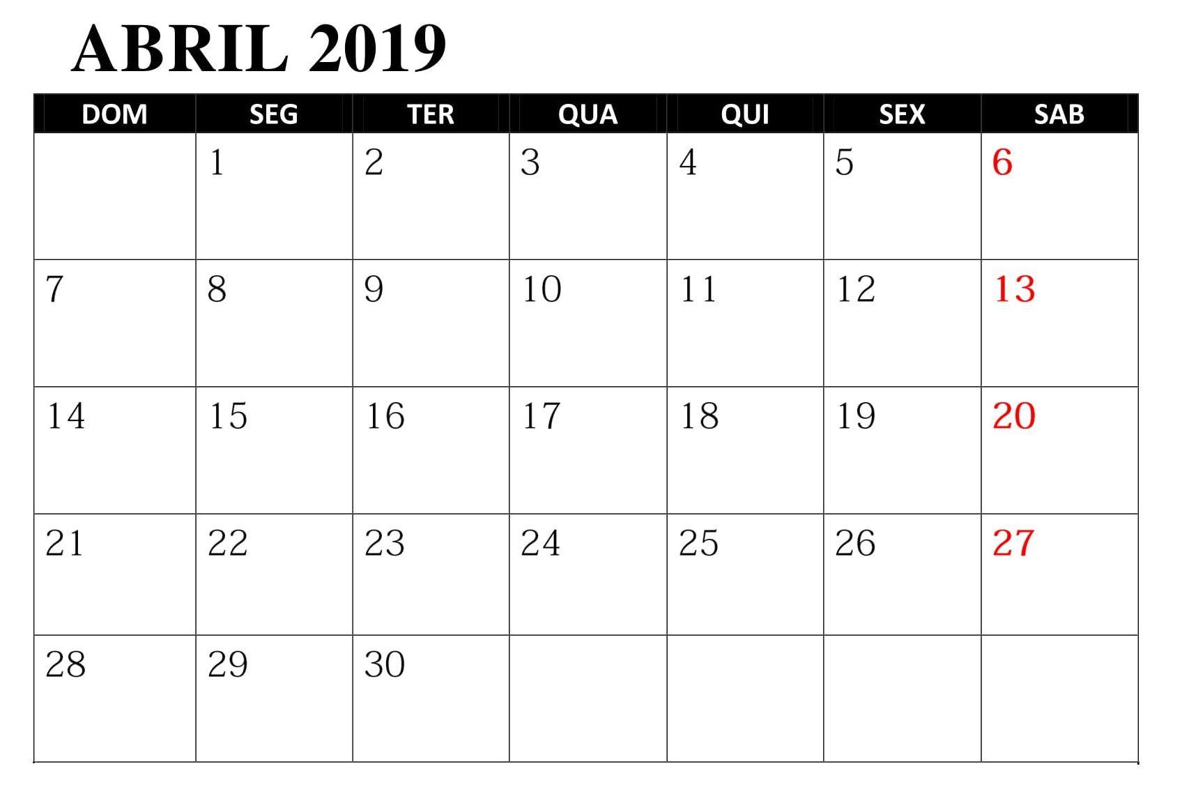 Calendario Abril 2019 Imprimir Calendario Abril Abril