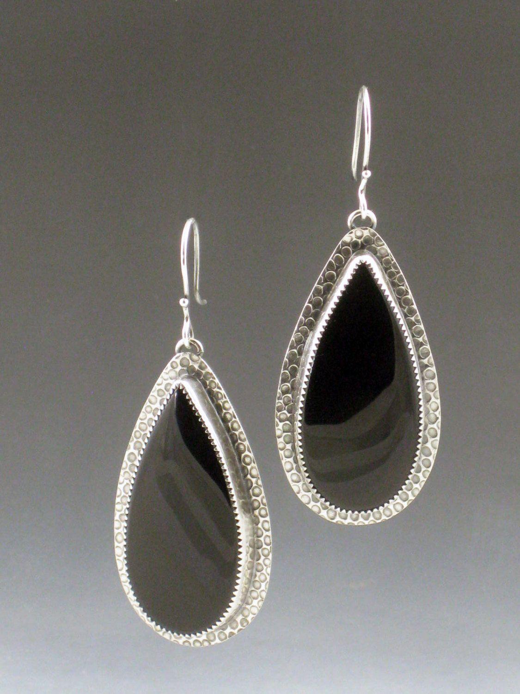 Black Onyx Earrings, dangle earrings, sterling silver, bohemian ...