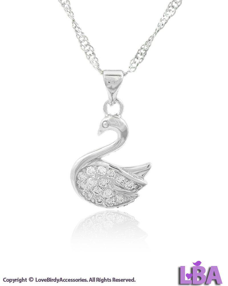 Fashion New Silver Tone Crystal SWAN Pendant Chain Necklace Charm | LBA | BIRDS #LoveBirdyAccessoriesLBA #Pendant