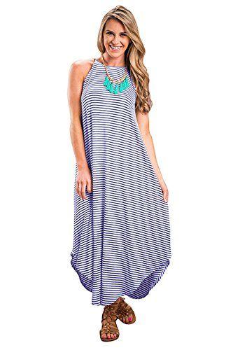 Womens Beach Dress Casual Sundress Sleeveless Stripes Loose Long Summer Dress