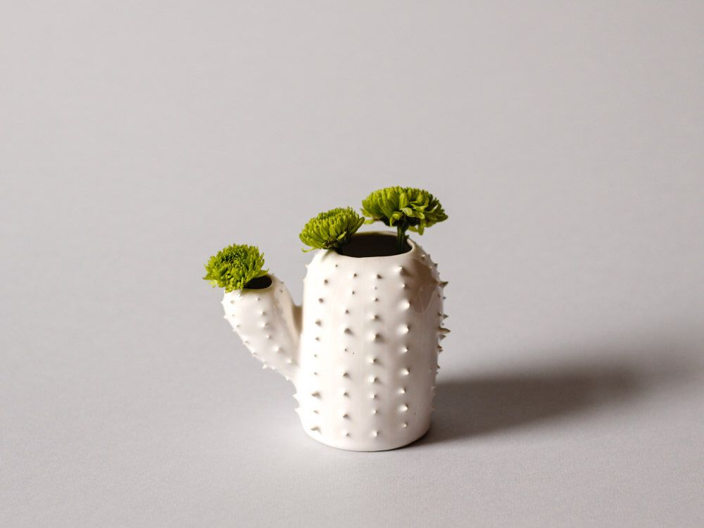 Free shipping- Modern small spiky white vase / cactus shaped succulent vessel / ceramic vase / white / saguaro cactus/ arizona cactus