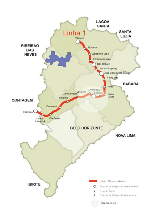 Mapa do Metrô de Belo Horizonte. Foto oficial