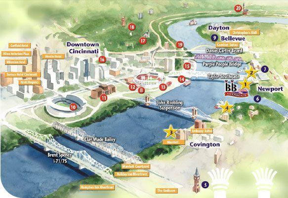 BB Riverboats Interactive map of the CincinnatiNorthern Kentucky