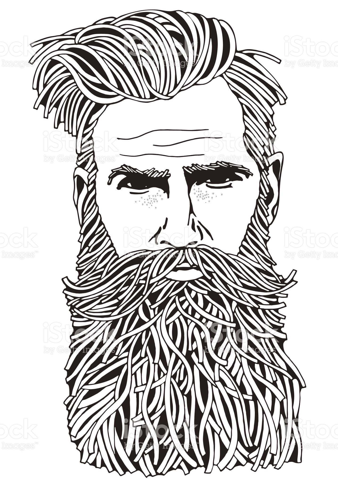 Bearded Hipster Man Coloring Book Page For Adult Hand Drawn