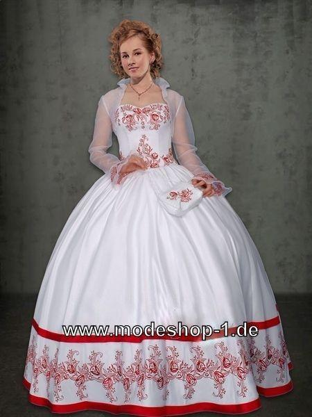 Weisses Sissi Abend / Ballkleid Rot auch mit Bolero