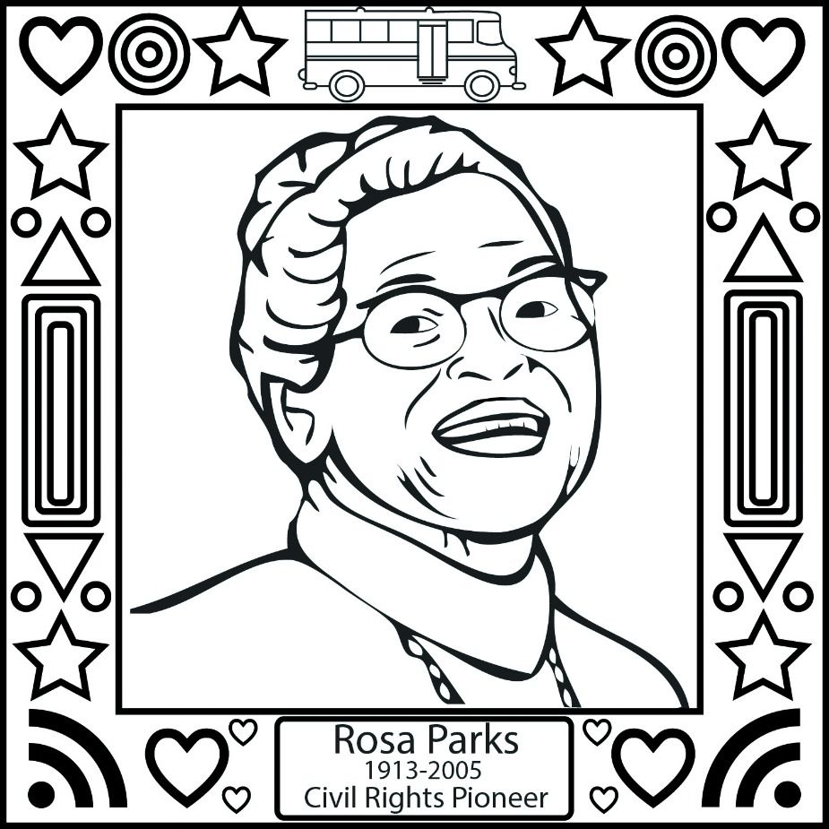 Preschool coloring pages martin luther king - Black History Month Rosa Parks Coloring Page