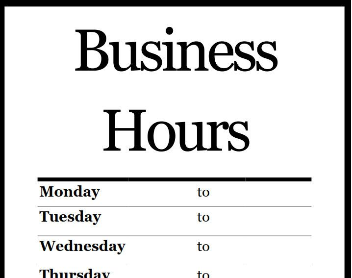 Store hours sign printable business sign template business closed sign template for word wajeb Choice Image