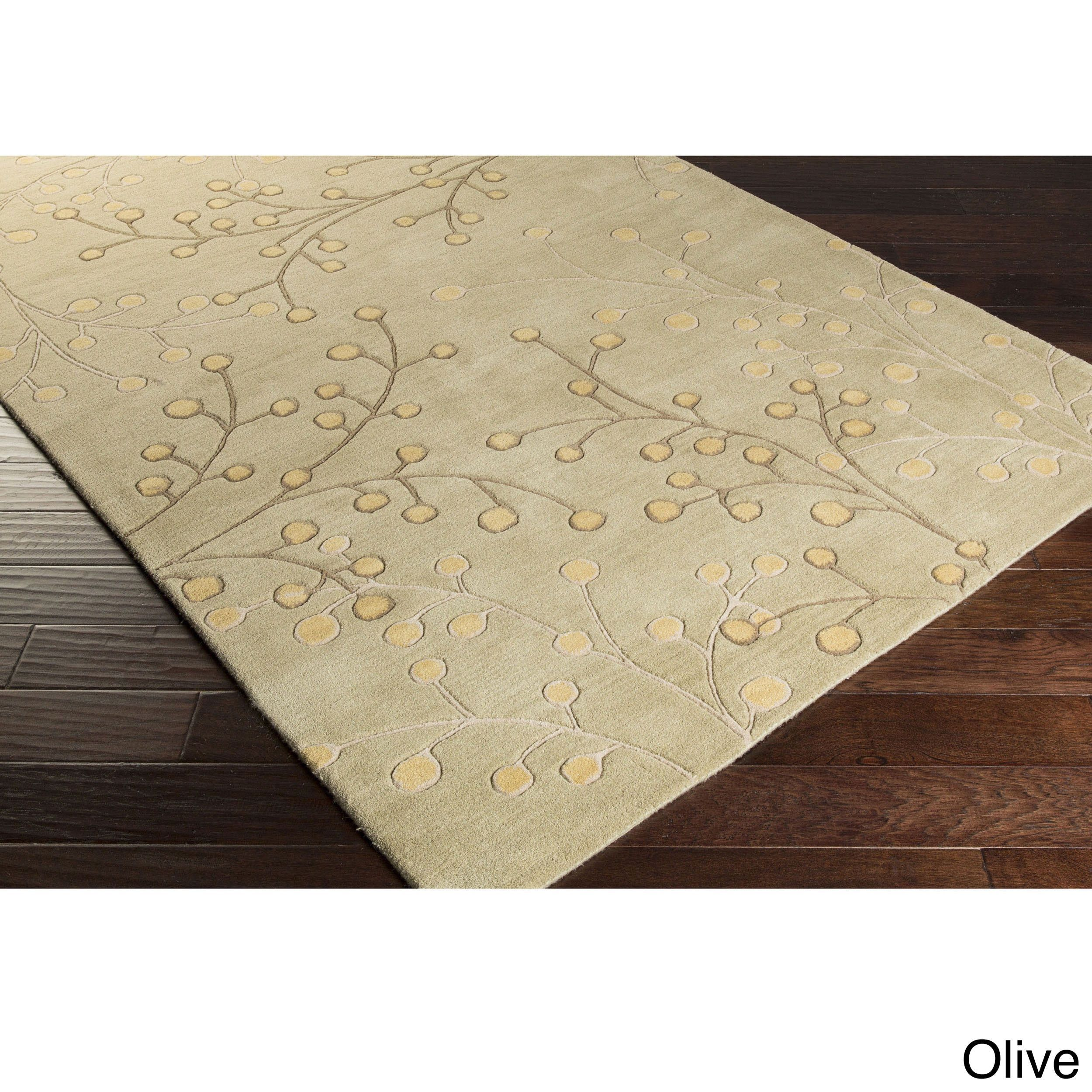 Hand Tufted Sakura Branch Floral Wool Area Rug 76 X 96 Olive