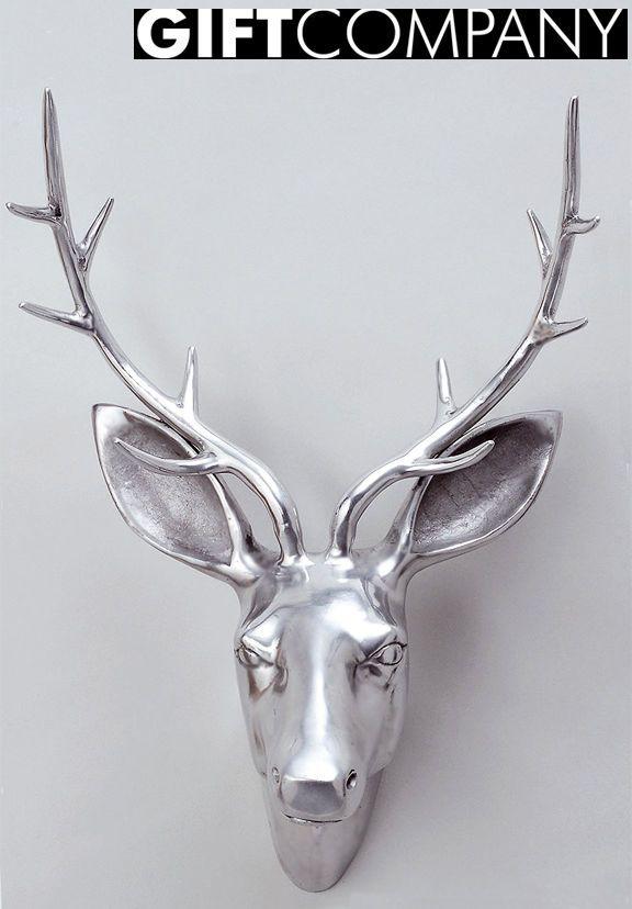 Hirschkopf Giftcompany Aus Aluminium 50cm Silber Hirschgeweih Gift