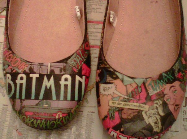 Batman! Comic Book Flats.  •  Free tutorial with pictures on how to make a pair of decoupage shoes in under 120 minutes