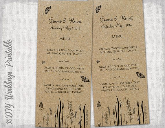 rustic wedding menu template butterfly meadow printable menu diy