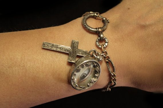 Gorgeous Antique French Silver Bracelet With by moonscuriousitems
