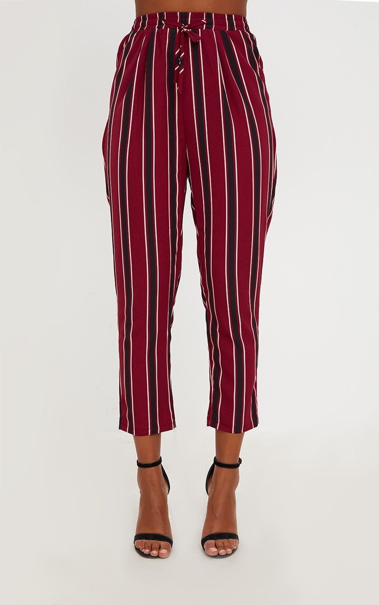 2d193853ac6be4 Burgundy Multi Stripe Casual Trousers in 2019 | Products | Trouser ...