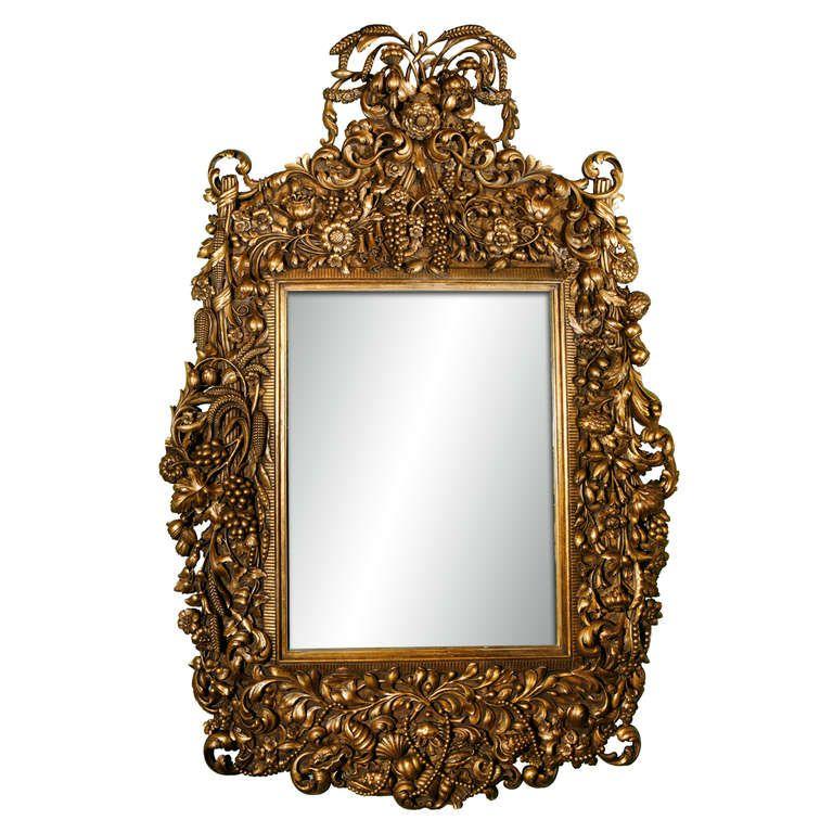 Monumental carved italian baroque antiqued mirror for Italian baroque mirror