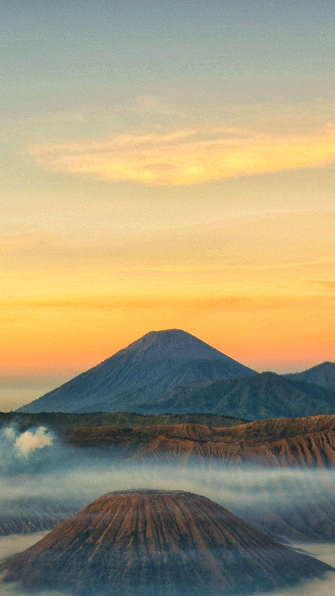 Bromo Semeru Mountain East Java Foto Alam Pemandangan Gunung Berapi