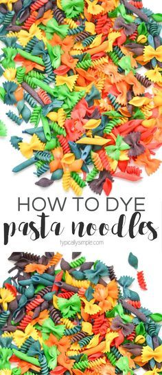 Colorful pasta noodles are great to use for crafts, sensory bins, and sorting activities. This simple tutorial will show you how to dye pasta in batches in a rainbow of colors!