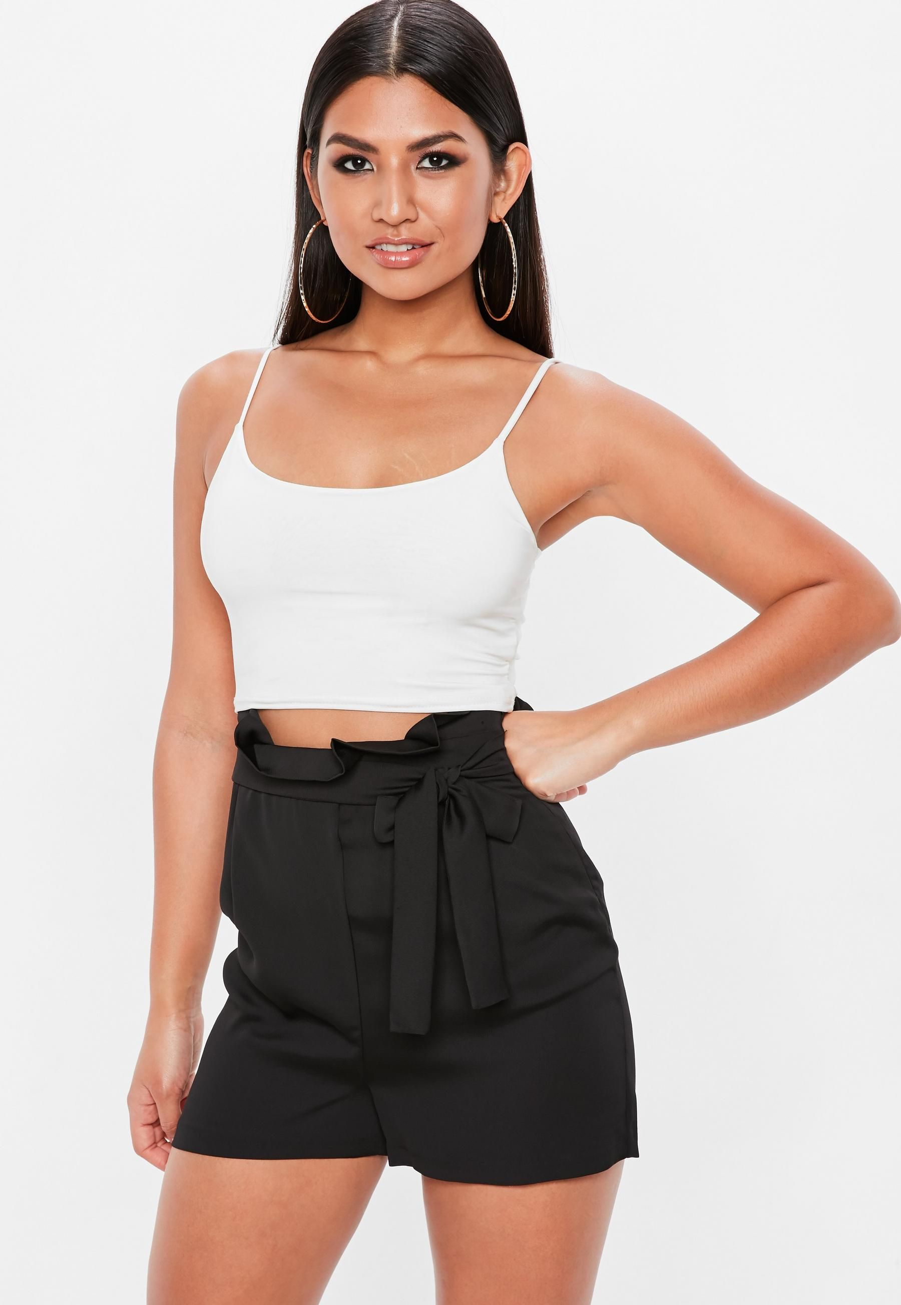 Black Paper Bag Tailored High Waist Shorts Denim Shorts Women Fashion Womens Shorts [ 2607 x 1800 Pixel ]