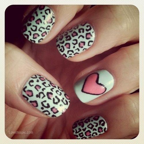 Leopard Heart Nails Fashion Cute Nails Heart Pretty Leopard Design
