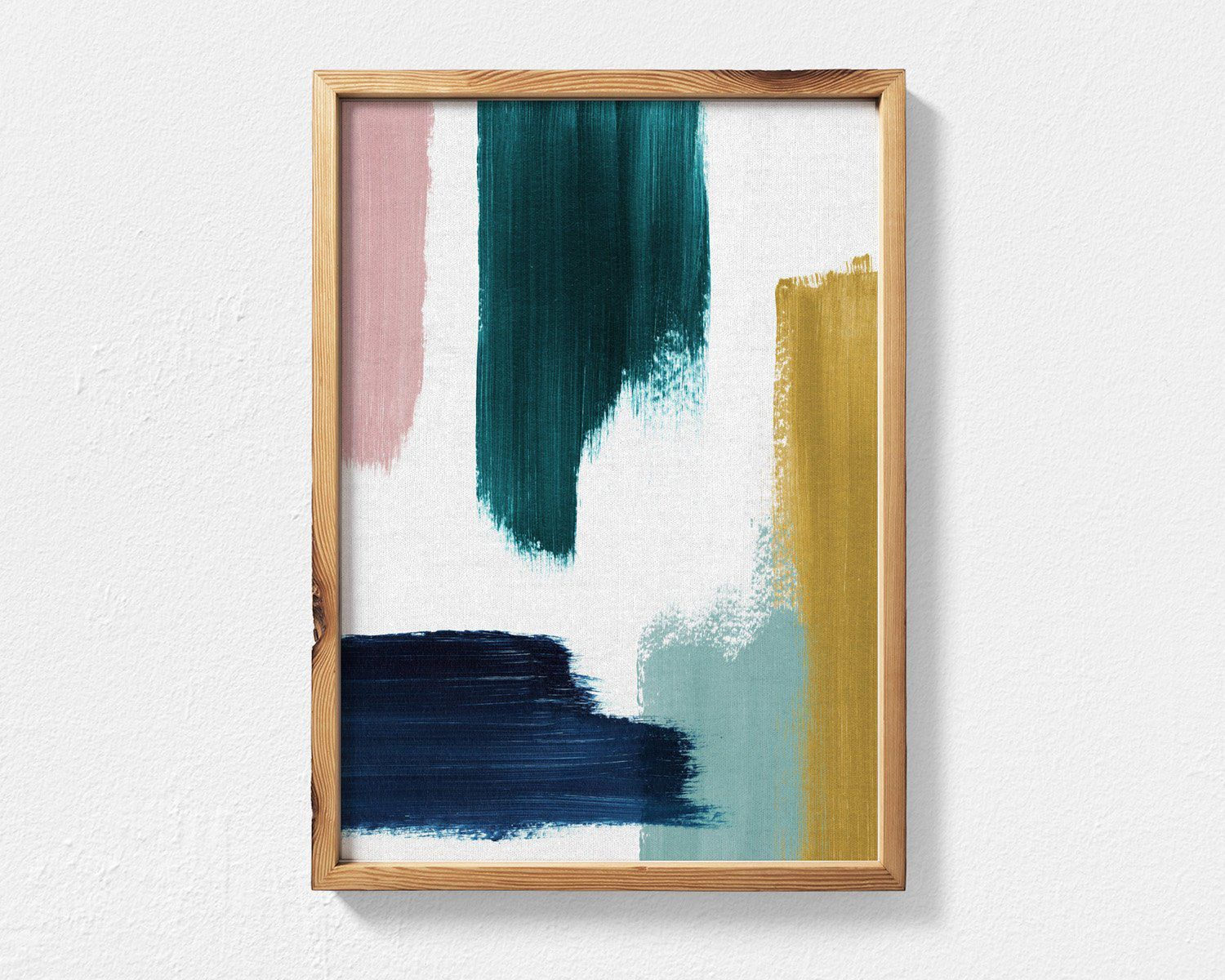 Abstract Painting Featuring Teal, Mustard, Navy Blue and Blush Pink Brush Strokes, Contemporary Printable Wall Art, Teal Decor Abstract Art