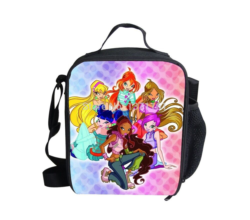 Free Shipping Winx Club Cartoon Lunch Bag For Children,Fashion Winx Princess Kids School Lunch Box For Gilrs,Cute Baby Food Bag