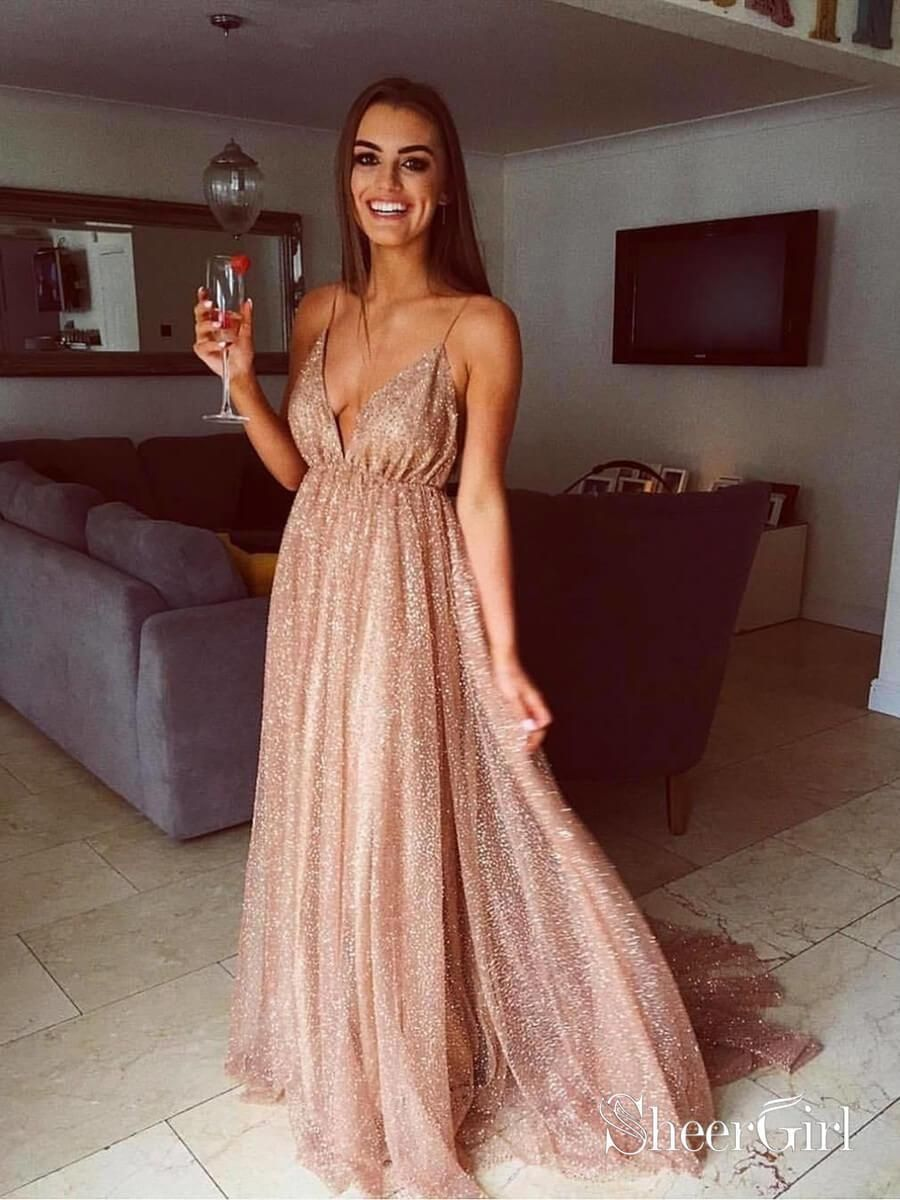 16c4d93cc6 Sexy Sparkly Sheer Lace Prom Dresses Spaghetti Strap V Neck Formal ...