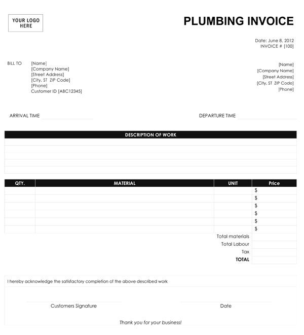 Blank Plumbing Invoice Free Google Search Invoice Template Letter After Interview Invoice Sample