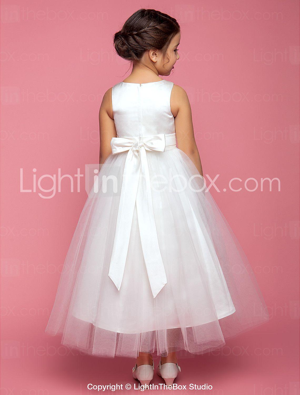 Una línea de longitud de té vestido de niña de flores - satén cuello ...
