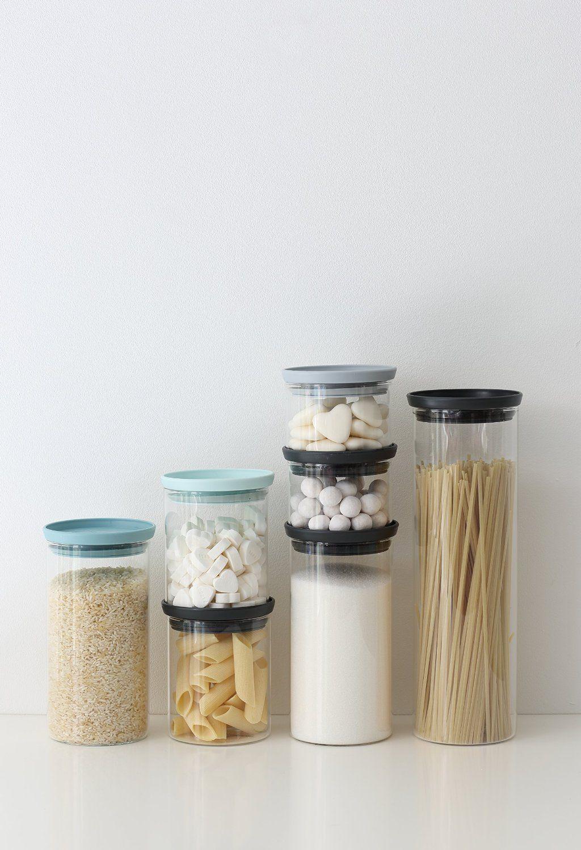 Brabantia Glass Stackable Jars Set Of 3 0 3 0 6 1 1 L Amazon Co