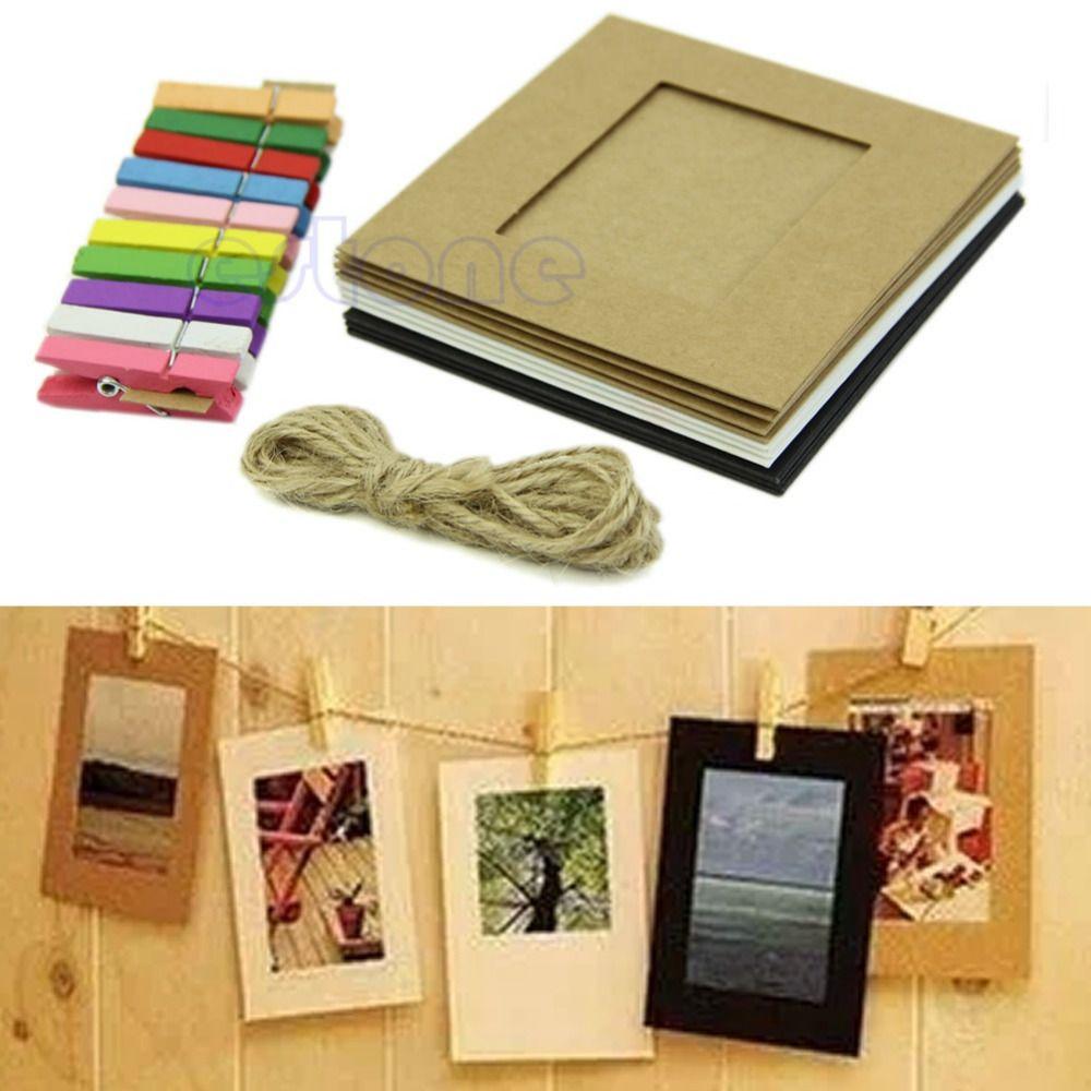 10Pcs 3Inch Paper Photo DIY Flim Hanging Album Wall Frame Rope Wood ...