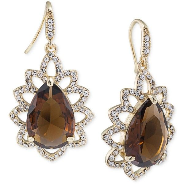 Carolee Gold Tone Brown Crystal Teardrop Earrings 80 Liked On Polyvore Featuring