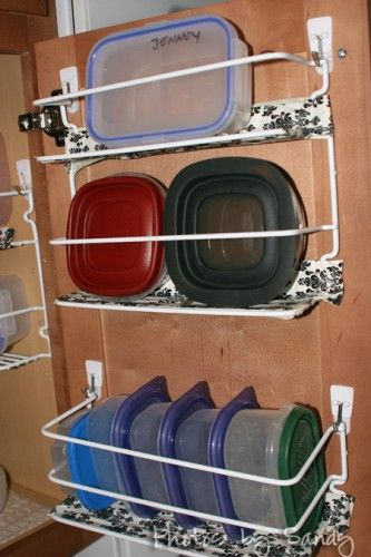 Use Wire Racks + Duct Tape + Command Hooks For Plastic Container Storage.
