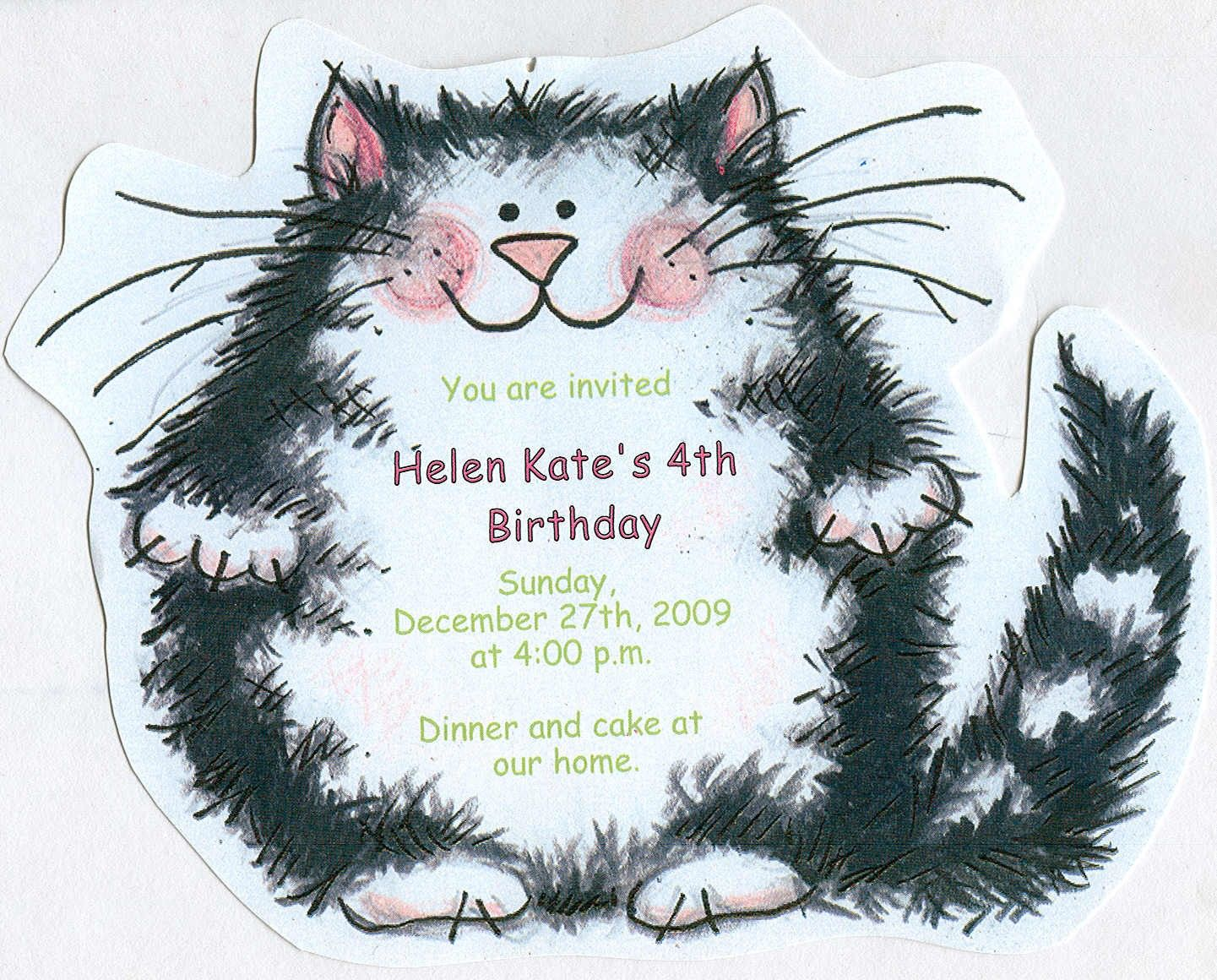 10 Cat Birthday Party Invitations Handcut Personalized – Cat Party Invitations