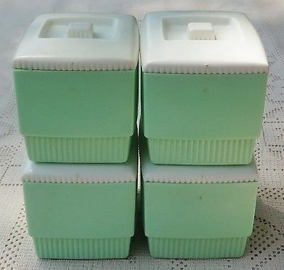 VINTAGE 1960's-1970's RETRO MINT GREEN PLASTIC SMALL CANISTER SET W/ WHITE LIDS