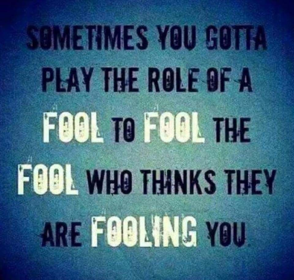 Sometimes You Have To Act Like A Fool To Fool A Fool Embrace And