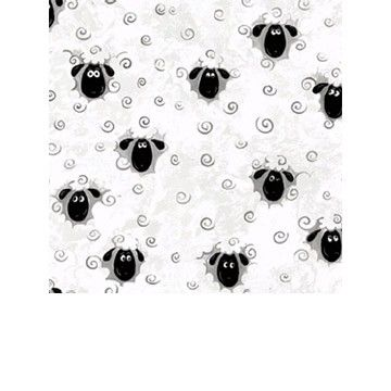 White Sheep, Flannel Lewe by Susybee Fabrics